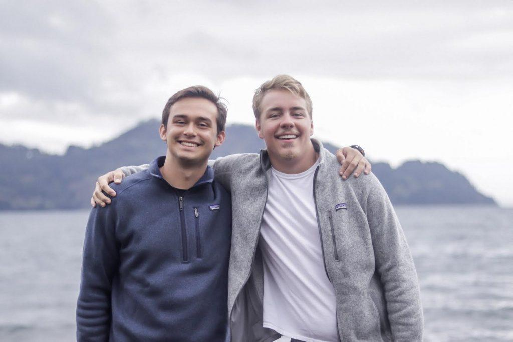 Club founders Aaron Ekenstam (left) and Nicholas Olson (right) visit a lake near Pucon, Chile, in September 2019. Olson said living in Buenos Aires, Argentina, helped him become a confident Spanish speaker and inspired his idea for the club. Photo courtesy of Aaron Ekenstam