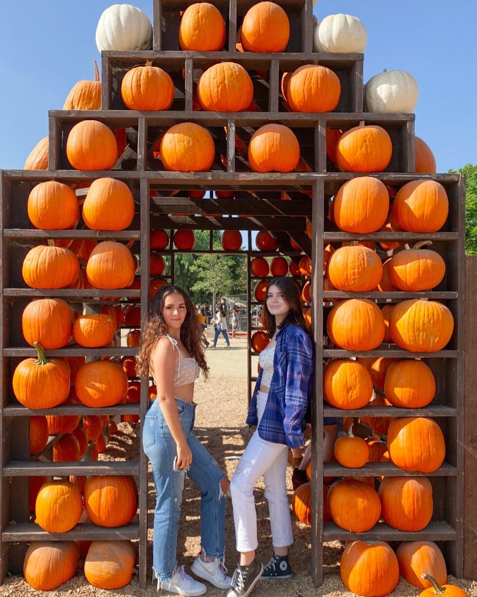 Samantha White (left) and her sorority sister chill under a pumpkin display at Underwood Family Farms in Moorpark, CA, this October. White said her favorite part about the holidays is the sense of community and unity it brings. Photo courtesy of Samantha White