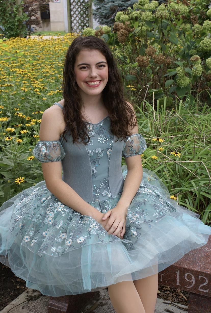 First-year Lena Folse smiles after a dance recital in Terre Haute, Ind., this August. Folse danced for 11 years and was a player on her high school tennis team. Photo courtesy of Lena Folse