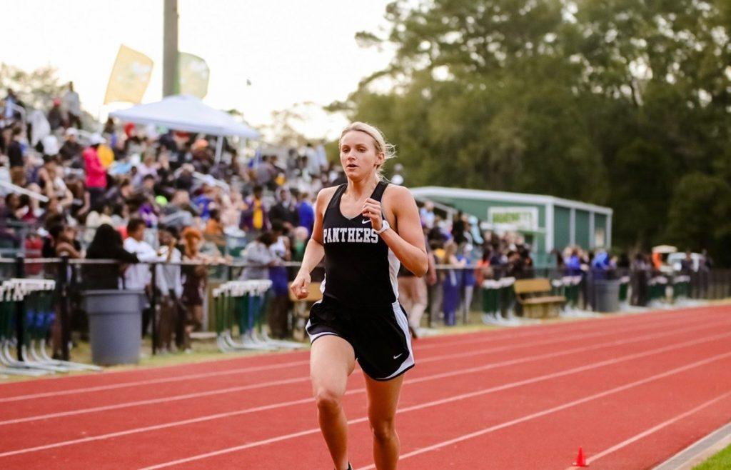 First-year runner Skylar Davis runs the 3200 meters in her final high school track meet that she would compete in 2019. Davis, a former swimmer, joined the Waves' Cross Country team after running for only three years in high school in Georgia. Photo courtesy of Skylar Davis