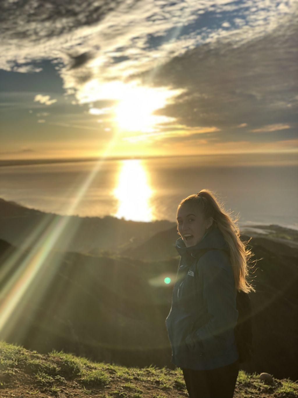 Morrison enjoys the ocean view during her hike to the Cross in Malibu in January 2019. She said loves to work out to relieve stress and get a break from schoolwork. Photo courtesy of Mackenzie Morrison