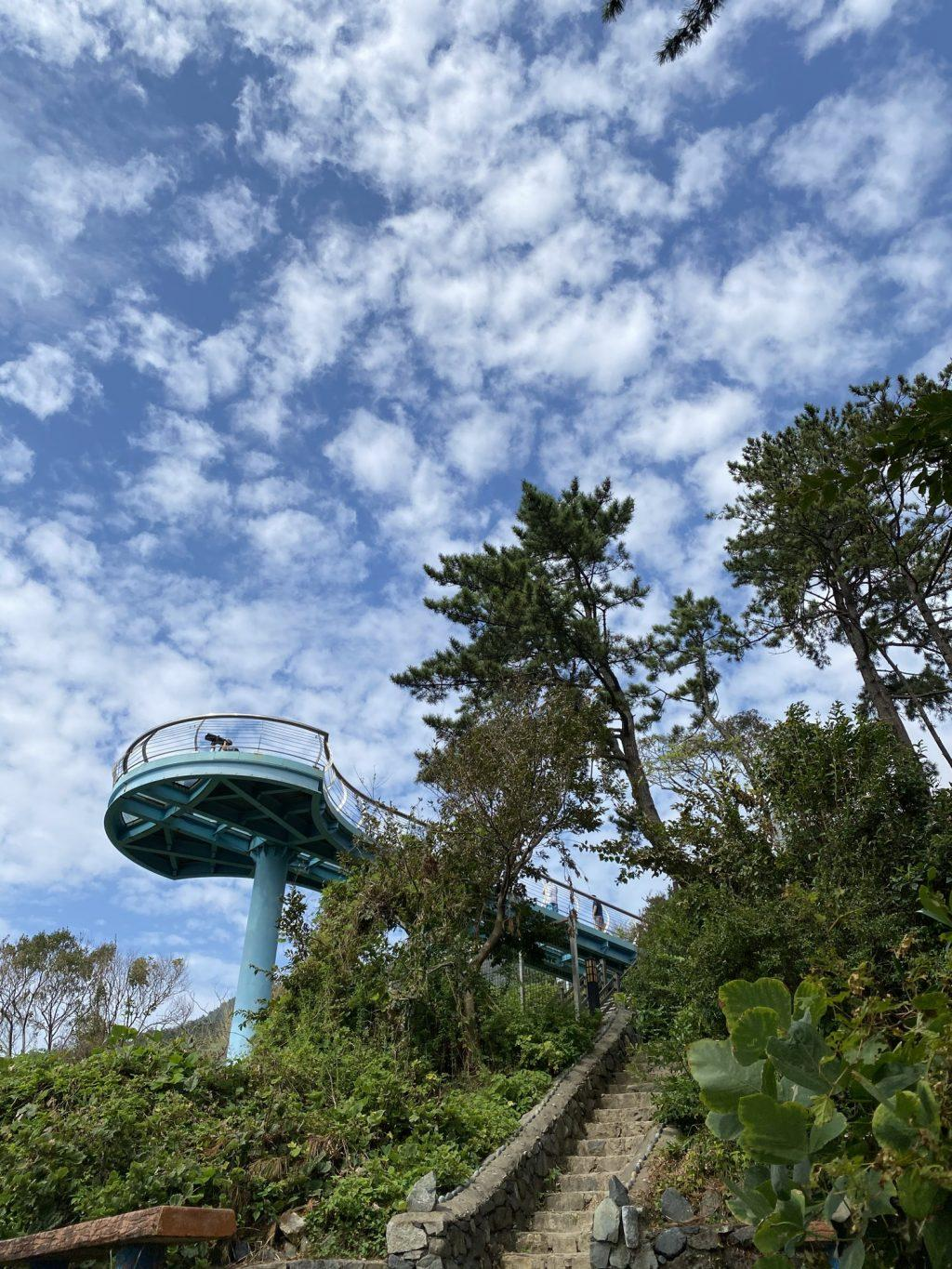 The Jeoryeong Coastal Walk provides hikers with a place to view the ocean and take pictures Oct. 4. The high skywalk against the beautiful sky and sparkling ocean provided a great view.