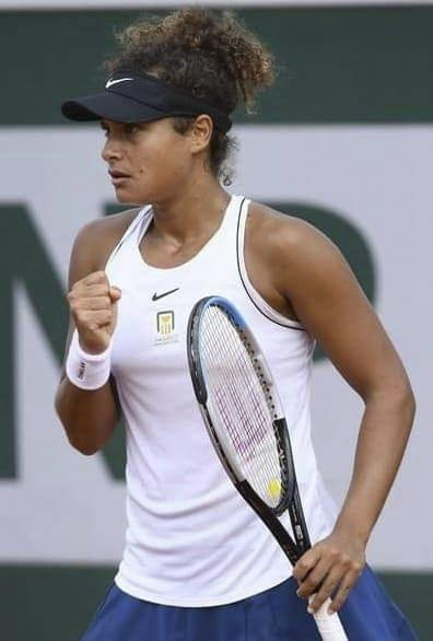 Sherif pumps her fist during a qualifying match for the French Open in September. Sherif needed to win three matches in four days to make it to the main draw of the event.