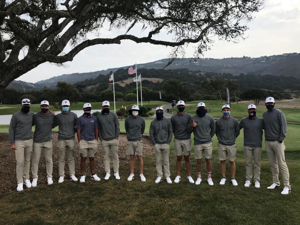 The 2020–2021 Pepperdine Golf Team poses for a group photo after the Pasadera Collegiate Invitational on Oct. 6. The team was tested for COVID-19 multiple times per month and wore masks before and after tournament play.