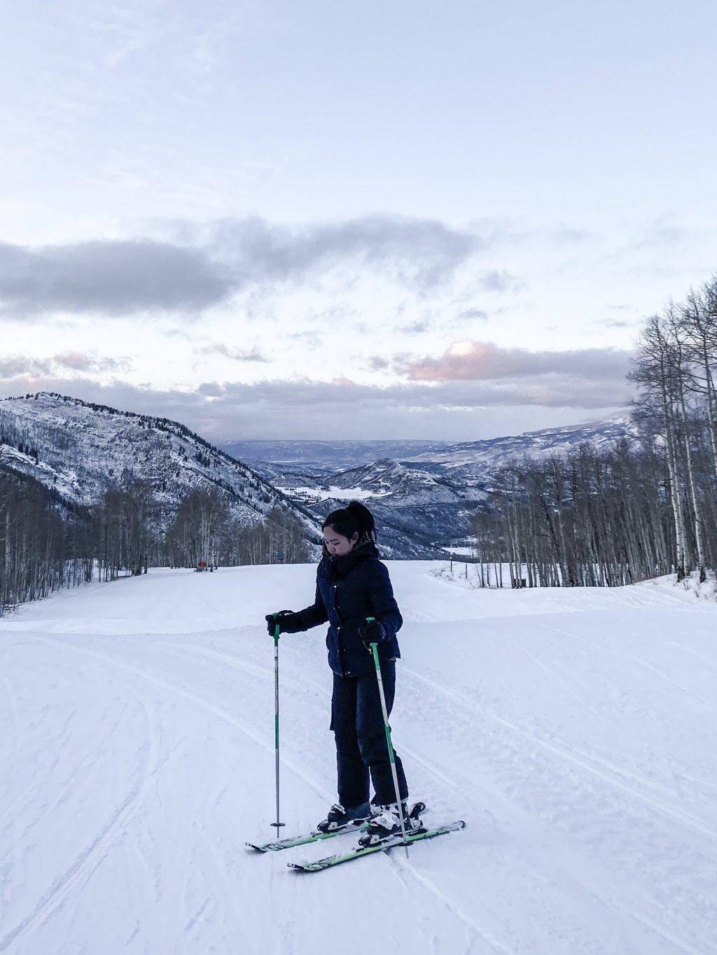 Putri skis on top of a mountain in Aspen, Colo., in last November. Last Thanksgiving, Putri took a ski trip with her friends.