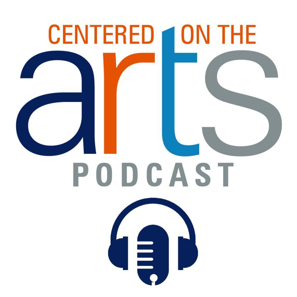 The Centered on the Arts Podcast social media logo shows Pepperdine colors, a microphone, and headphone. The Lisa Smith Wengler Center for the Arts used the logo as promotional material for the podcast. Photo Courtesy of RJ Morgan