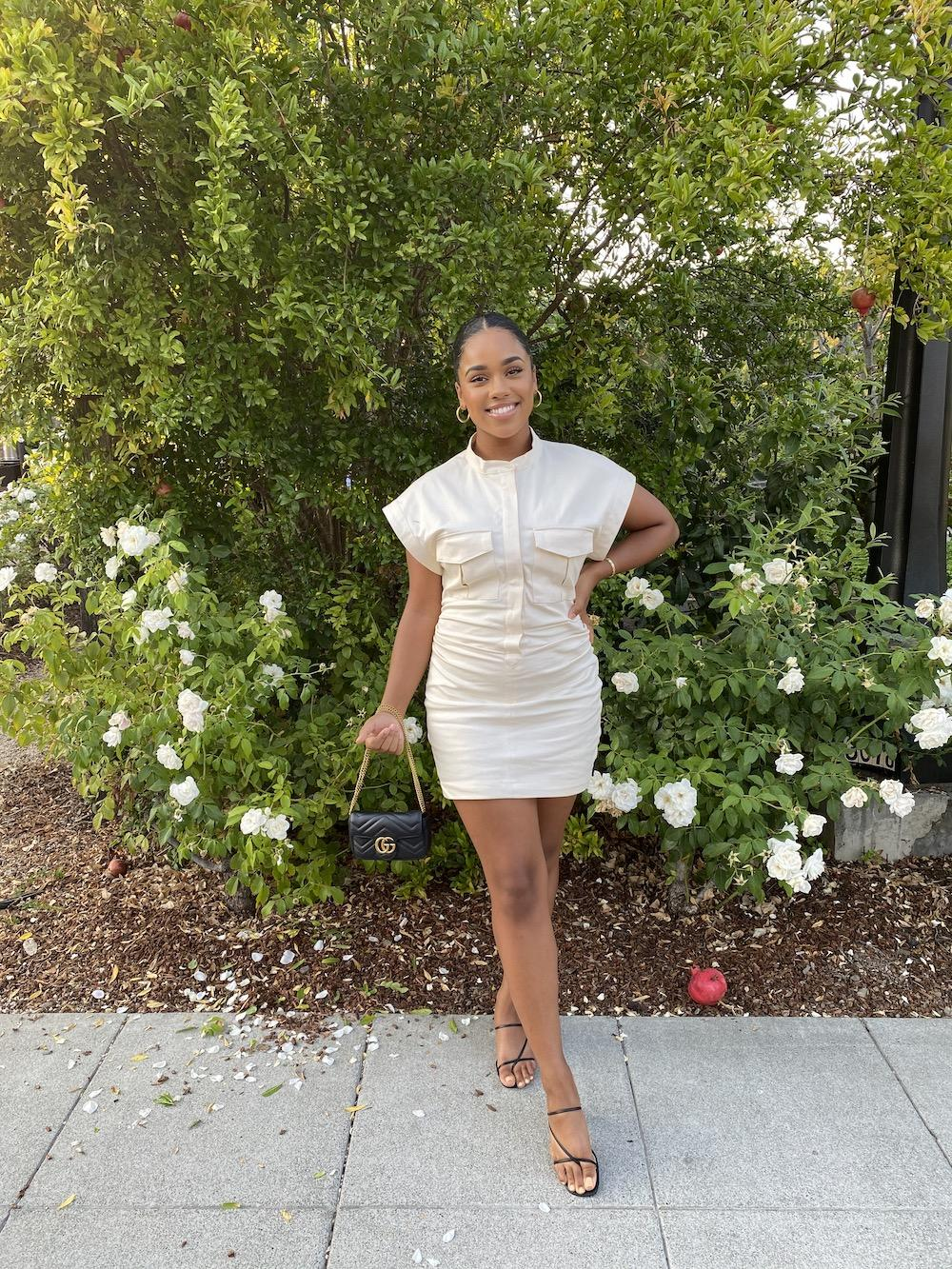 Moss poses before going to dinner at Cole's Chop House in Napa, CA, for her grandmother's 70th birthday in September. Moss wore a neutral dress from Zara paired with black heels from Lulu's and a black bag. Photo courtesy of Camryn Moss