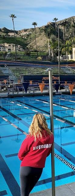 Alumna Catherine Gibbs lifeguards at the Raleigh Runnels Pool this fall. Her new job as a pool administrator had more work dealing with COVID-19 regulations for athletes. Photo courtesy of Catherine Gibbs
