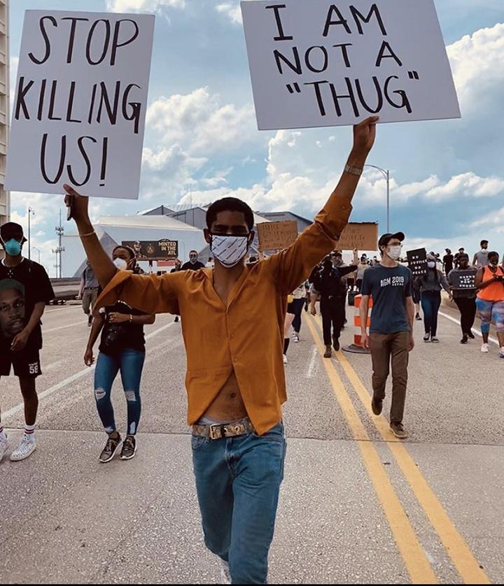 Sophomore Sherwin McDonald joins a Black Lives Matter protest in Atlanta, Ga., on May 29. McDonald joined Sigma Chi's Empowerment Committee this semester. Photo courtesy of Pepperdine Sigma Chi