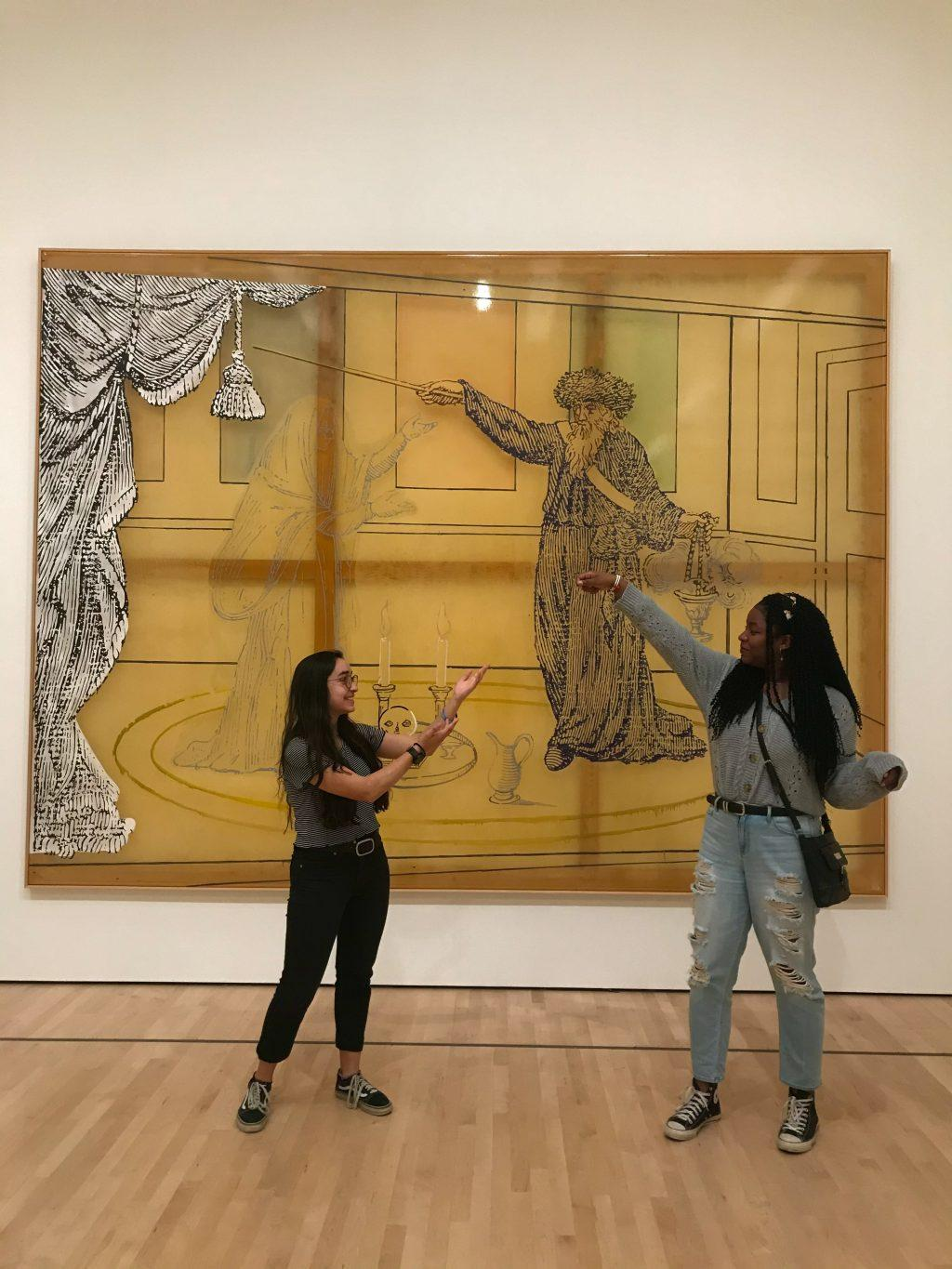 Djobaih (right) and her best friend imitate a piece of art during a field trip at the San Francisco Museum of Modern Art in February. Djobaih said she chose to attend Pepperdine because of the Christian community and beautiful campus.