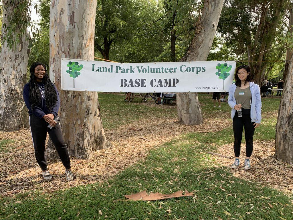 Djobaih (left) volunteers at a community service event cleaning up the William Land Park in Sacramento, CA, with the president of the National Honors Society in September 2019. Djobaih said she would like to continue participating in community service at Pepperdine since she enjoyed it so much in high school.
