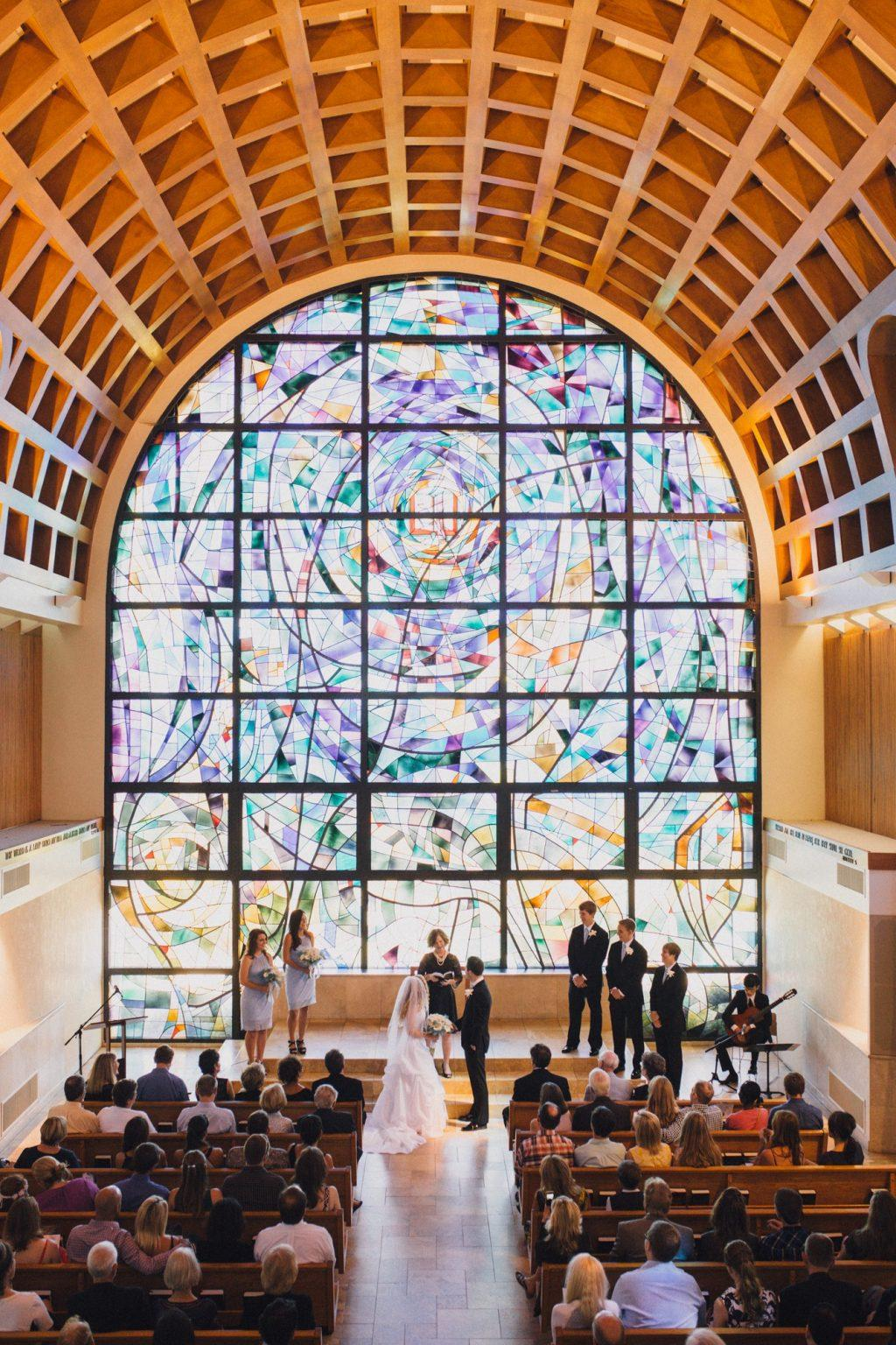 Soon-to-be-newlyweds Falon and Nate and Barton stand for their marriage ceremony in Stauffer Chapel in 2016. The two alumni tied the knot at the University's chapel. Photo courtesy of Sara Barton