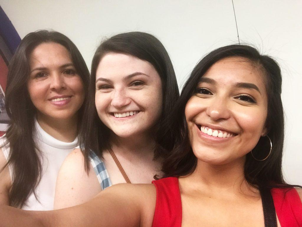 """Kern (middle) smiles with her """"madre Tina"""" (left) and roommate Olivia Perez (right) from her homestay in Madrid on June 27, 2019. Kern said one of the best parts of the Madrid program was the homestay, as it greatly improved her Spanish, and she made meaningful connections with the family. Photo courtesy of Karly Kern"""