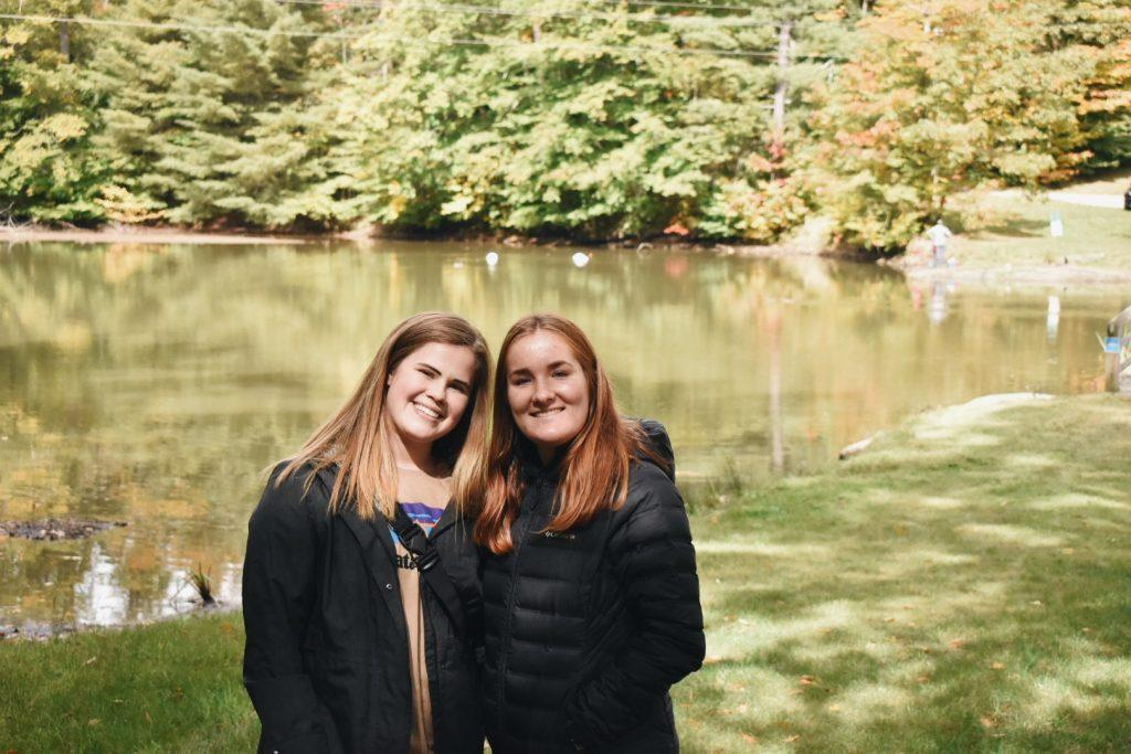 Sophomores Kelli Brickner and Katy Kulseth hike at Seven Springs Resort on Oct. 3, in Champion, Pa., where they live this semester after the University canceled their plans to go abroad to Lausanne. Kulseth said the time leading up to the announcement of the final decision was emotional and stressful. Photo courtesy of Katy Kulseth