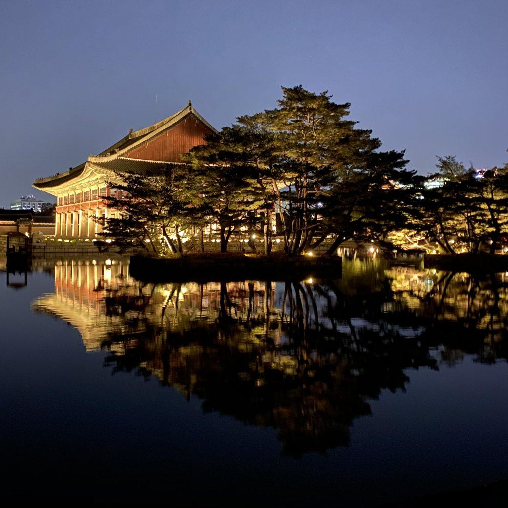 A large pond reflects the Gyeonghoeru Pavilion against the night sky Nov. 2. A 7 p.m., tour was given at the Gyeongbokgung Palace, a royal palace from the Joseon dynasty. Photo by Claire Lee