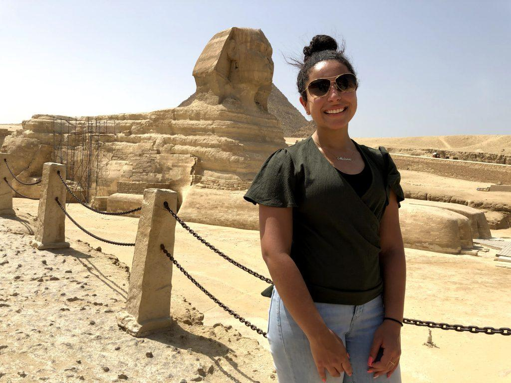 Tadros stands in front of the Great Sphinx of Giza in June 2019. Aside from the Sphinx, Tadros also visited King Tut's tomb and many other pyramids.