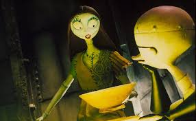 Sally feeds Dr. Finkelstein deadly nightshade so she can try to talk Jack out of his homemade Christmas idea. Jack and Sally are voiced by Danny Elfman and Catherine O'Hara.