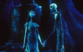 Sally and Jack hold hands and walk together under the pale moonlight. Sally was a toxicologist who used various types of poison to liberate herself from the captivity of Dr. Finklestein to spend time with Jack.