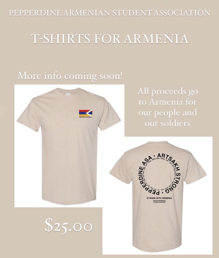 An ASA flyer presents an opportunity to donate to the Armenian fund in exchange for a T-shirt. ASA partnered with Greek life and other intercultural groups to raise funds for the Armenian cause. Photo courtesy of Pepperdine ASA's Instagram