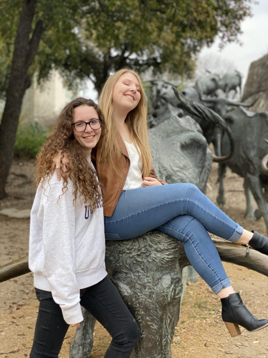 Juniors Katie Thompson and Samantha Miller enjoy time with each other in Fort Worth, Texas, in March. The couple returned to their hometown of McKinney, Texas, after Pepperdine closed in the spring. Photo courtesy of Katie Thompson