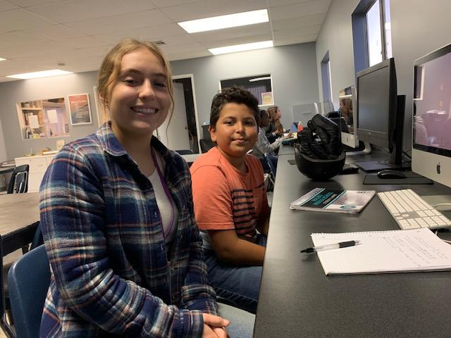 Ford tutors Yariel in a classroom for one of their first sessions together in fall 2018. Ford was one of the many Pepperdine students that serve as tutors and mentors for the SEA program.