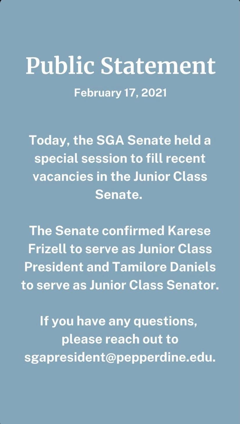 Pepperdine SGA announces the new senate roles by posting a public statement on their Instagram story after the meeting. SGA met on Feb. 17 to appoint the new positions to the committee. Photo courtesy of Pepperdine SGA
