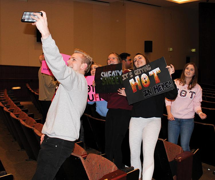 Eta Theta Tau takes a group selfie during Songfest recruitment in Elkins Auditorium on Feb. 20, 2020. HOT signed up to be one of two groups participating in virtual Songfest this spring. File photo