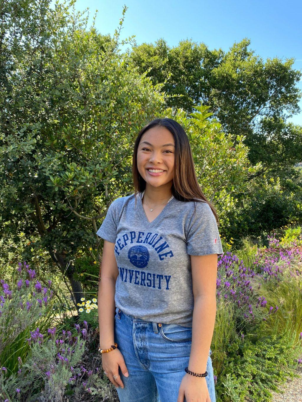 Abaya dons a Pepperdine T-shirt shortly after making a decision to become a Wave in May in her hometown of Redwood City, CA. She said she is excited to gain knowledge, build community and have valuable experiences to reflect on later in life after going to Pepperdine.