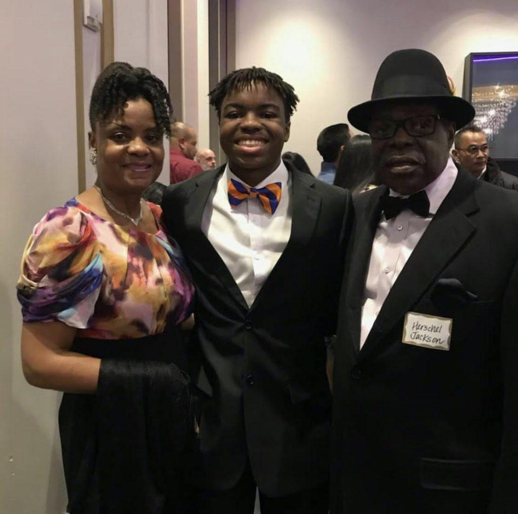 Jackson and his family celebrate his Posse Scholarship and Pepperdine acceptance at a Posse event at the Regal 17 Theater in Los Angeles, CA. Jackson said he cried when he received his Posse Scholarship.