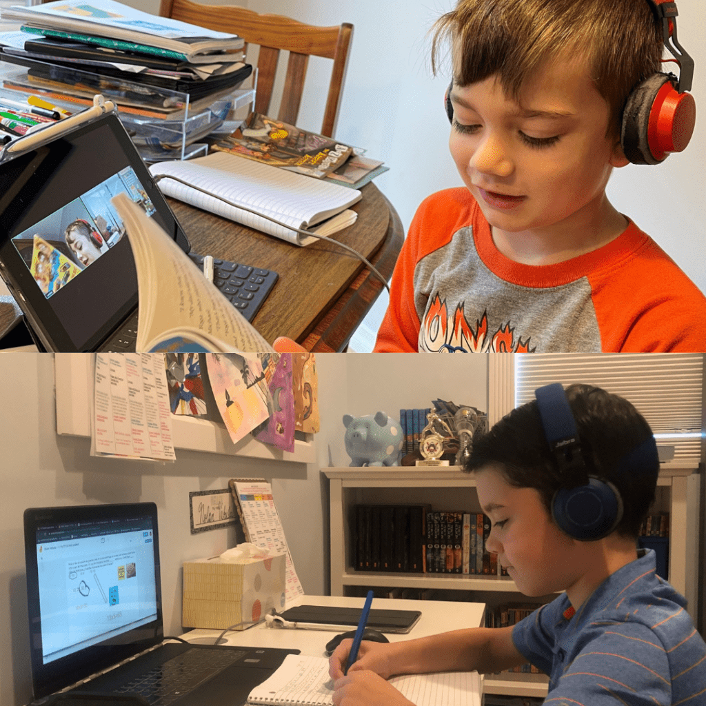Professor Felicity Vabulas' children, 6-year-old Landon (top) and 9-year-old Nolan (bottom) complete assignments for school near the start of quarantine. Vabulas said she often worries about their screen time and said even after one year of online learning, young children will never be fully independent on Zoom. Photo Courtesy of Felicity Vabulas