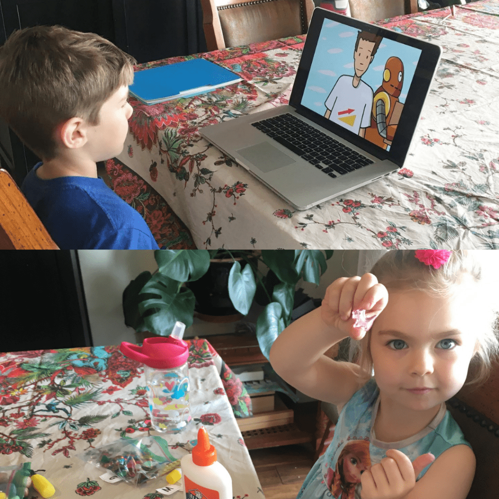 Professor Lila McDowell Carlsen's children, 8-year-old Miles (top) and 5-year-old Marley (bottom) undergo their first day of remote learning in 2020. Carlsen said she helps her son with four to seven Zoom meetings every day while homeschooling her daughter, whose preschool closed indefinitely. Photo Courtesy of Lila McDowell Carlsen