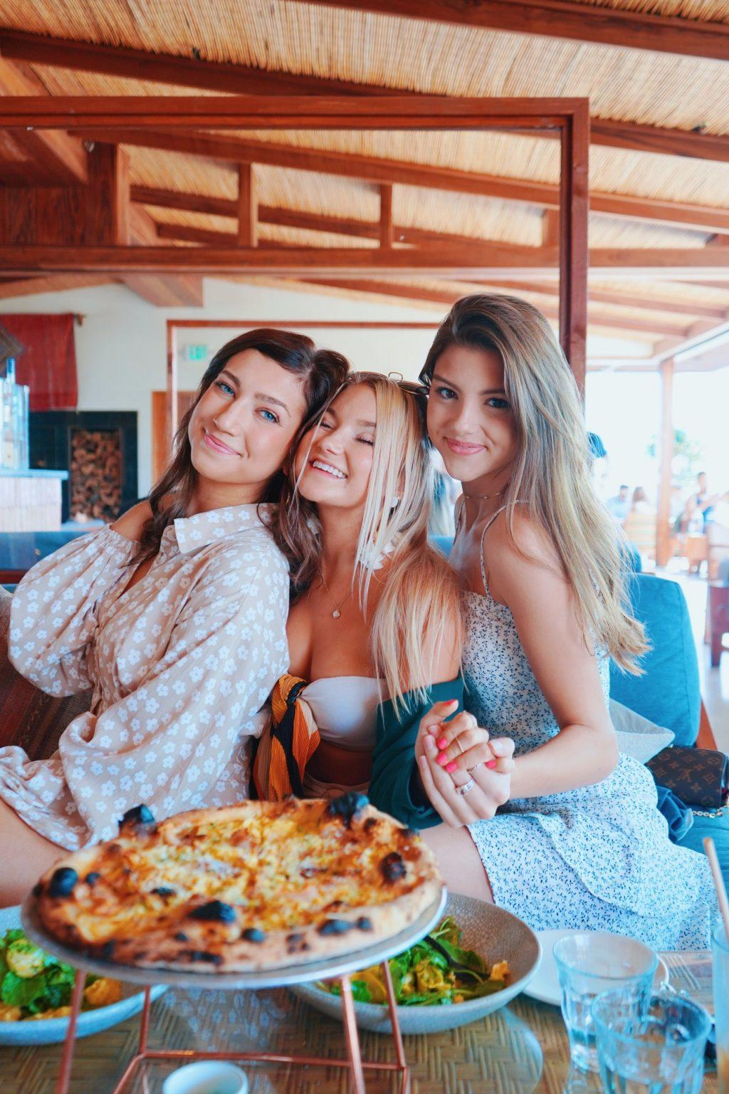 Morris (right) enjoys lunch at Élephante in Santa Monica, Calif., in September with her sisters in Kappa Kappa Gamma, Lauren Graney (left) and Michele Marvin (middle). Morris said her favorite dish is whipped eggplant and avocado toast.