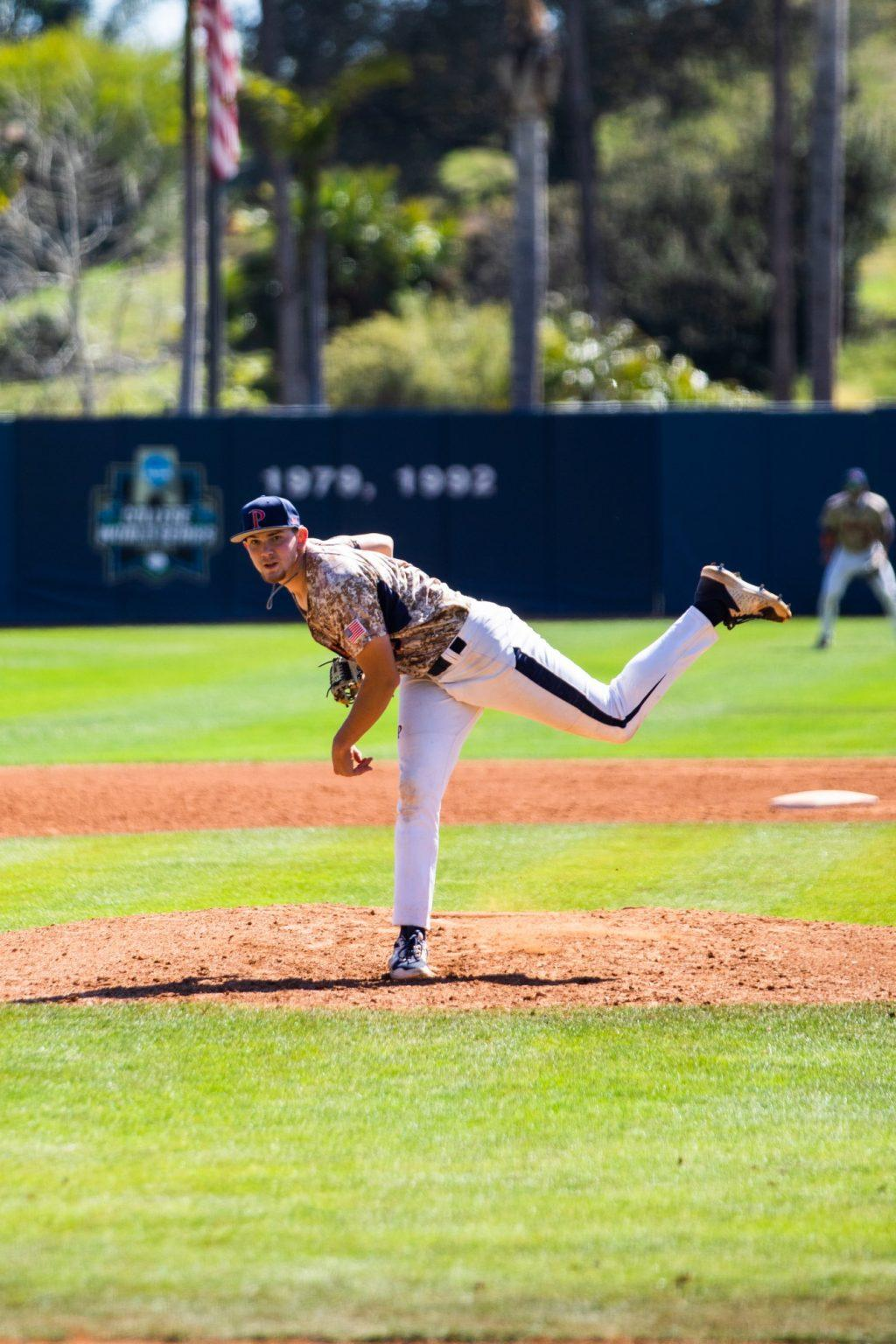 Sophomore left-hander Nathan Diamond completes his follow through Saturday afternoon at Eddy D. Field Stadium in Malibu. After four scoreless innings in a 7-2 Waves win, Diamond holds an even 3.00 earned run average on the season.