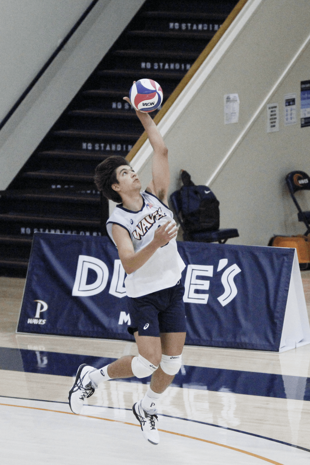 Dvorak serves the ball during the first set on Sunday against GCU at Firestone Fieldhouse. Dvorak earned Mountain Pacific Sports Federation's Defensive Player of the Week for the week of March 29.