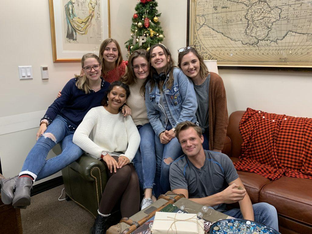 IP ambassadors for the 2019-2020 academic year celebrate the Pepperdine IP office Christmas party in December 2019. During this time, Brooking was the academic and internships intern for the Washington, D.C., program.