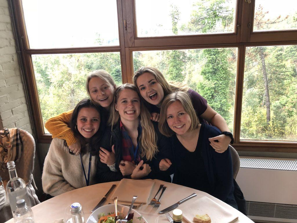 Brooking and her Italian and American friends enjoy dinner at Castello di Gargonza in Gargonza, Italy, in October 2018. The friends were on a cultural retreat to celebrate the union at a castle.