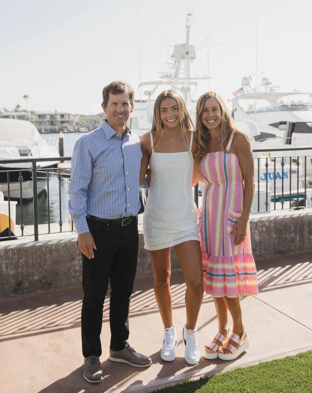 Ianni poses with her parents at the Balboa Bay Club in Newport Beach, Calif., in July. While Ianni said she is currently living at home with her parents in Newport Beach, she is excited to move to the Malibu campus next fall.