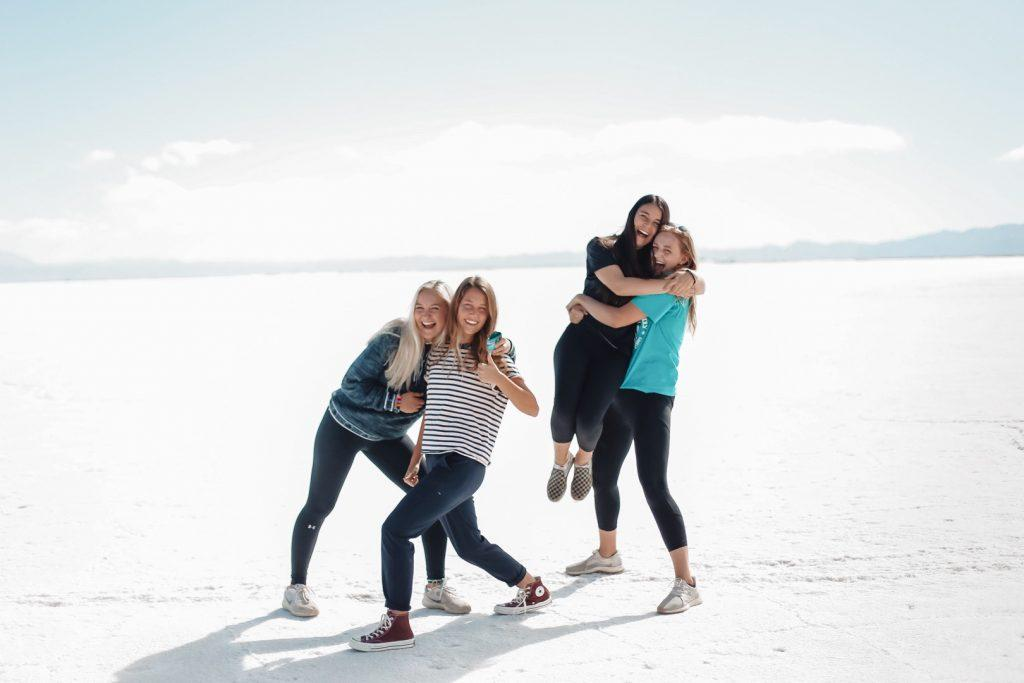 Armstrong (left) poses with seniors Grace Benner, Sydney Griffith and Grace Wilson at the salt flats in Jujuy, Argentina in March 2019 during their time studying abroad in the Buenos Aires program. Armstrong said the thing she misses the most about studying abroad in Argentina is seeing friends every day in Casa Holden.