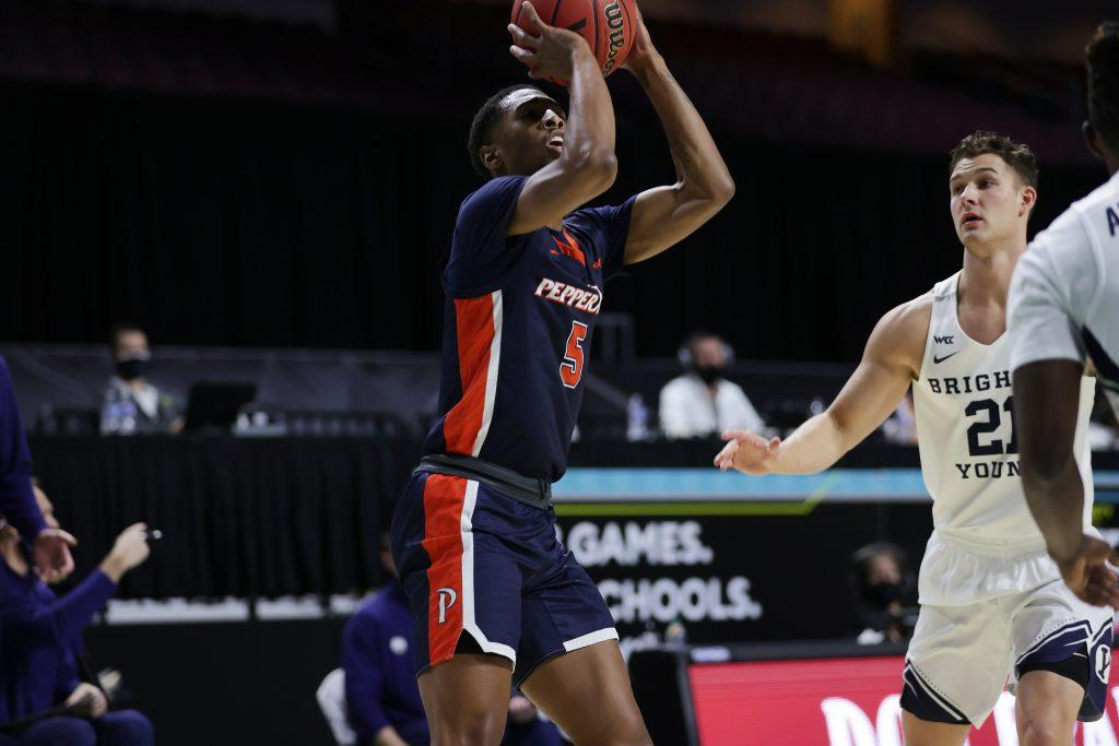 Senior guard Jadé Smith (No. 5) attempts a shot against BYU in Las Vegas. Smith's 10 second-half points were key in keeping Pepperdine in the game.