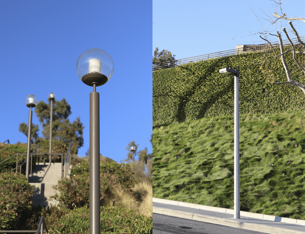 Globe lights surround a flight of stairs by the Student Accessibility Center (left), while lights that adhere to the Dark Sky Ordinance line Seaver Drive (right) on March 5. The University began replacing the globe lights in 2015, and has replaced 110 of the 367 so far.