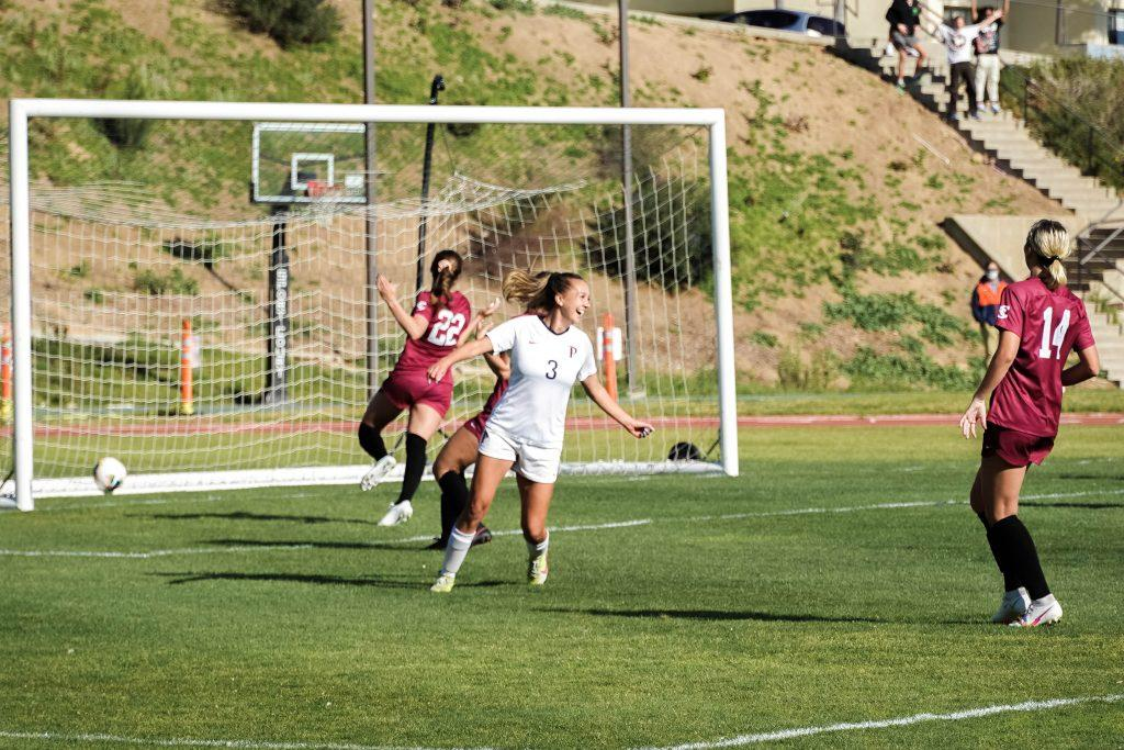 Senior Aliyah Satterfield (No. 3) turns to celebrate with teammates after scoring against Santa Clara. It was Satterfield's second goal of her career, both of which came in her senior season.