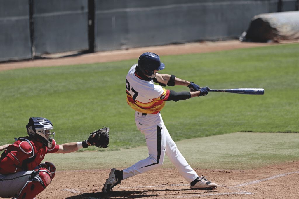 Redshirt senior center fielder Reese Alexiades takes a healthy cut Sunday in Malibu. Alexiades contributed three RBIs over the course of the weekend, as the Waves won two of three games against Saint Mary's.