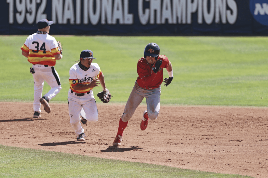 Pepperdine junior shortstop Wyatt Young pursues a Saint Mary's player in a rundown during Sunday's game at Eddy D. Field Stadium. The Waves defense committed only one error over the weekend series, but dropped Sunday's game 3-2.