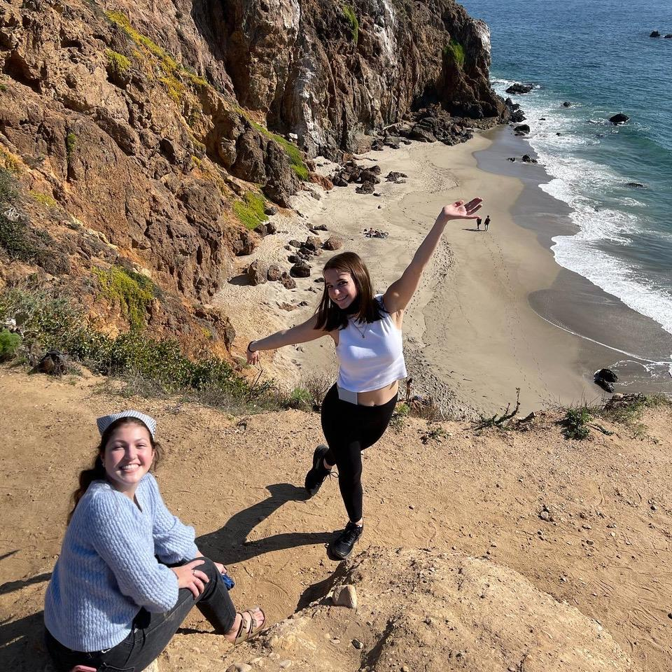 Harris (right) has a good time at the beach in Malibu, CA, with her friend Alina Sanchez (left) in February. She said attending Pepperdine is a dream come true.