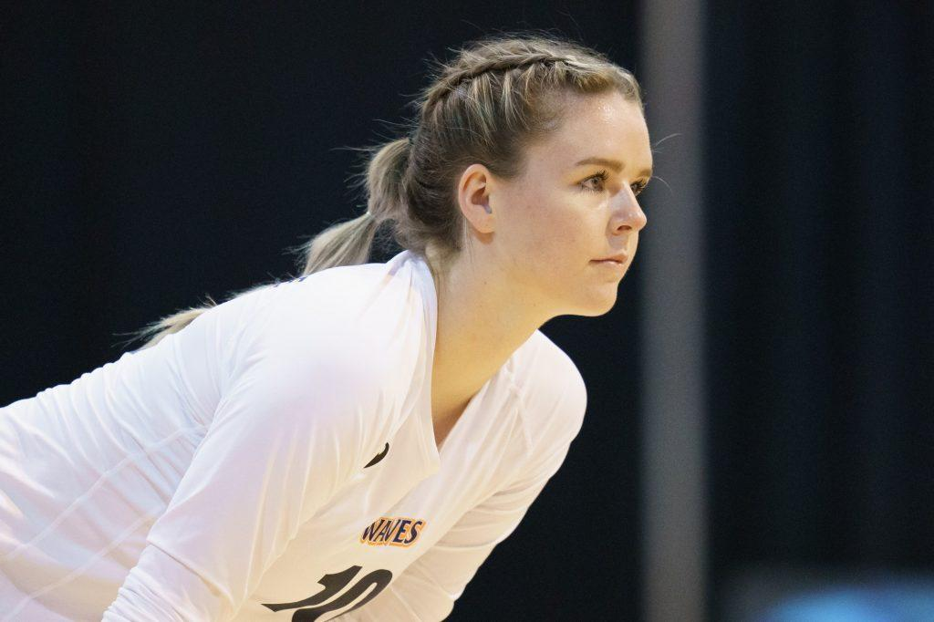 Pepperdine senior outside hitter Shannon Scully awaits a serve April 14, against UMBC. The following day, Scully notched the 1,000th kill of her Pepperdine career.