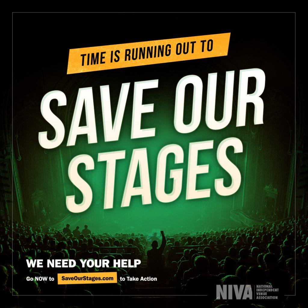 """The National Independent Venue Association&squot;s official poster for the """"Save Our Stages"""" features a small venue with cheering fans. They fundraised $15 billion in relief money for independent venues, Broadway theaters, movie theaters, talent agencies and museums. Photo Courtesy of saveourstages.com"""