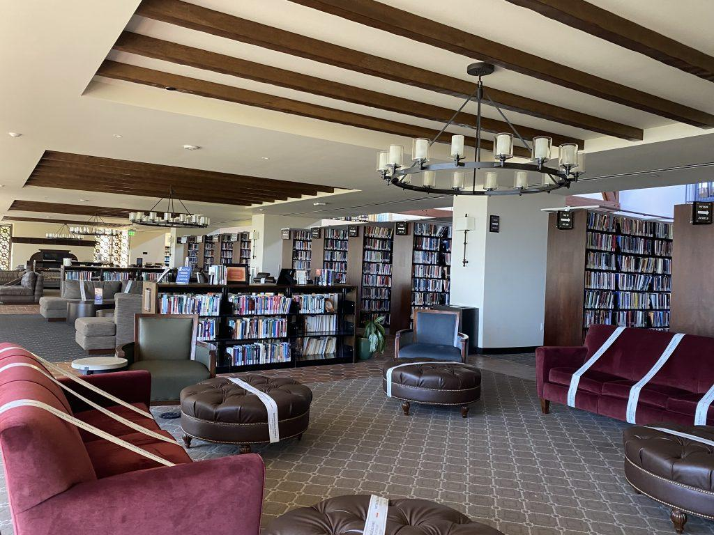 Following LA County's COVID-19 safety regulations, seats at the library are 6 feet apart March 15. To maintain social distancing, the library blocked off seats and is open at 25% capacity.