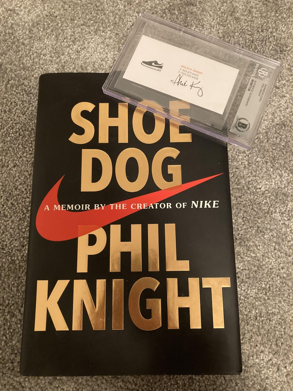 """Crandall first read the book """"Shoe Dog"""" by Nike founder Phil Knight when visiting Oregon during his first year of high school in 2016. Crandall said he bought a signed business card from Knight online as an inspirational piece that motivates him to work hard and think creatively."""