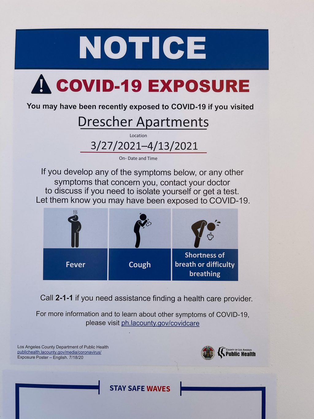 A sign gives students a COVID-19 Exposure notice outside of Drescher Apartments on April 14. 65 Drescher residents moved to first-year dorms due to the outbreak in the residence halls. Photo Courtesy of Alexa Ray