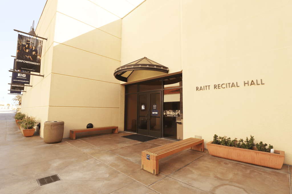 Raitt Recital Hall sits in the Malibu sun April 6. Since the partial reopening in February, music, theater and art majors are allowed to use their respective spaces via reservation.
